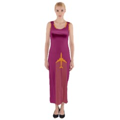 Airplane Jet Yellow Flying Wings Fitted Maxi Dress