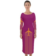 Airplane Jet Yellow Flying Wings Quarter Sleeve Midi Bodycon Dress
