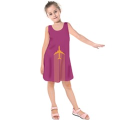 Airplane Jet Yellow Flying Wings Kids  Sleeveless Dress