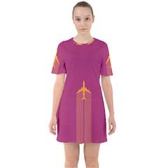 Airplane Jet Yellow Flying Wings Sixties Short Sleeve Mini Dress