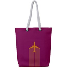 Airplane Jet Yellow Flying Wings Full Print Rope Handle Tote (small) by BangZart