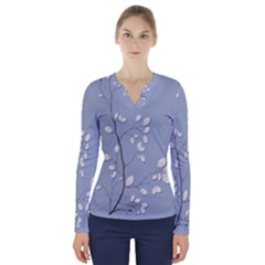 Branch Leaves Branches Plant V Neck Long Sleeve Top