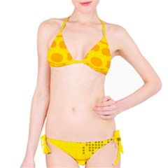 Texture Yellow Abstract Background Bikini Set