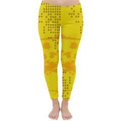 Texture Yellow Abstract Background Classic Winter Leggings