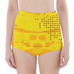 Texture Yellow Abstract Background High Waisted Bikini Bottoms