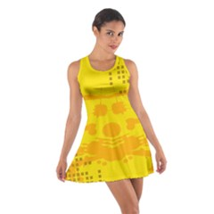 Texture Yellow Abstract Background Cotton Racerback Dress