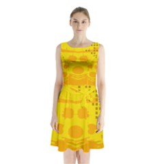 Texture Yellow Abstract Background Sleeveless Waist Tie Chiffon Dress