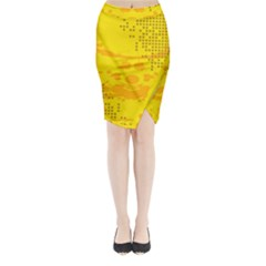 Texture Yellow Abstract Background Midi Wrap Pencil Skirt