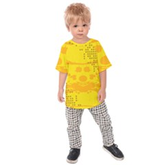 Texture Yellow Abstract Background Kids Raglan Tee
