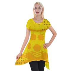 Texture Yellow Abstract Background Short Sleeve Side Drop Tunic