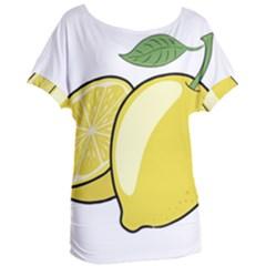 Lemon Fruit Green Yellow Citrus Women s Oversized Tee