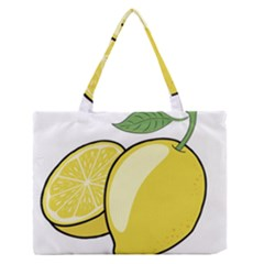 Lemon Fruit Green Yellow Citrus Zipper Medium Tote Bag