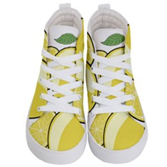 Lemon Fruit Green Yellow Citrus Kid s Hi Top Skate Sneakers