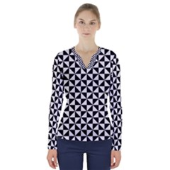 Triangle Pattern Simple Triangular V Neck Long Sleeve Top
