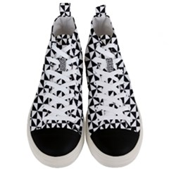 Triangle Pattern Simple Triangular Men s Mid Top Canvas Sneakers