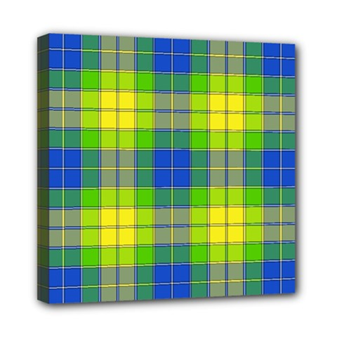 Spring Plaid Yellow Blue And Green Mini Canvas 8  X 8