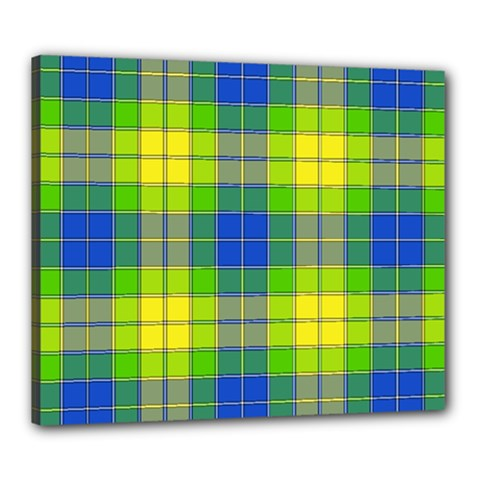 Spring Plaid Yellow Blue And Green Canvas 24  X 20  by BangZart