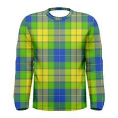 Spring Plaid Yellow Blue And Green Men s Long Sleeve Tee