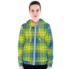 Spring Plaid Yellow Blue And Green Women s Zipper Hoodie