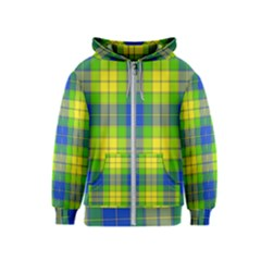 Spring Plaid Yellow Blue And Green Kids  Zipper Hoodie