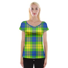 Spring Plaid Yellow Blue And Green Cap Sleeve Tops