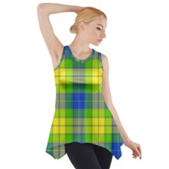 Spring Plaid Yellow Blue And Green Side Drop Tank Tunic