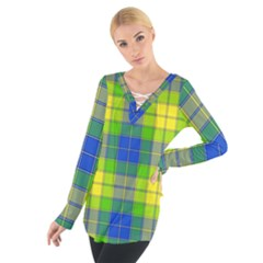 Spring Plaid Yellow Blue And Green Tie Up Tee
