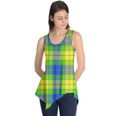 Spring Plaid Yellow Blue And Green Sleeveless Tunic