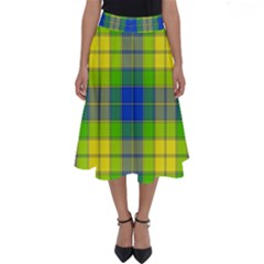 Spring Plaid Yellow Blue And Green Perfect Length Midi Skirt