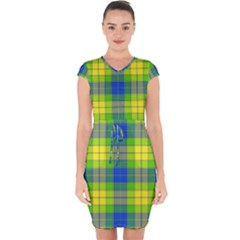 Spring Plaid Yellow Blue And Green Capsleeve Drawstring Dress