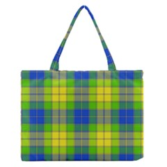 Spring Plaid Yellow Blue And Green Zipper Medium Tote Bag