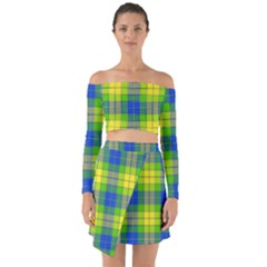 Spring Plaid Yellow Blue And Green Off Shoulder Top With Skirt Set