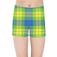 Spring Plaid Yellow Blue And Green Kids Sports Shorts