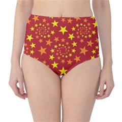 Star Stars Pattern Design High Waist Bikini Bottoms
