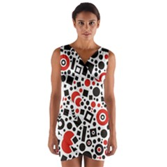 Square Objects Future Modern Wrap Front Bodycon Dress