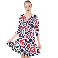 Square Objects Future Modern Quarter Sleeve Front Wrap Dress