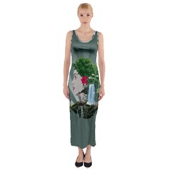 Digital Nature Beauty Fitted Maxi Dress