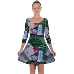 Digital Nature Beauty Quarter Sleeve Skater Dress