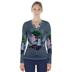 Digital Nature Beauty V Neck Long Sleeve Top