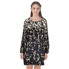 Christmas Bokeh Lights Background Long Sleeve Chiffon Shift Dress