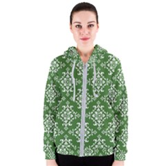 St Patrick S Day Damask Vintage Women s Zipper Hoodie