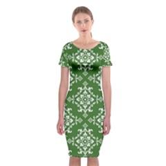 St Patrick S Day Damask Vintage Classic Short Sleeve Midi Dress