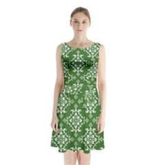 St Patrick S Day Damask Vintage Sleeveless Waist Tie Chiffon Dress