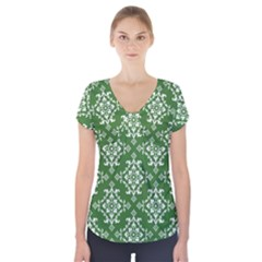 St Patrick S Day Damask Vintage Short Sleeve Front Detail Top by BangZart
