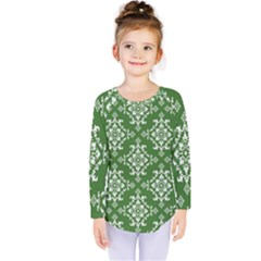 St Patrick S Day Damask Vintage Kids  Long Sleeve Tee