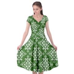 St Patrick S Day Damask Vintage Cap Sleeve Wrap Front Dress by BangZart