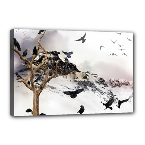Birds Crows Black Ravens Wing Canvas 18  X 12  by BangZart