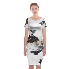 Birds Crows Black Ravens Wing Classic Short Sleeve Midi Dress