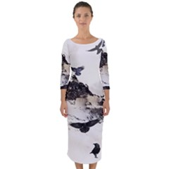 Birds Crows Black Ravens Wing Quarter Sleeve Midi Bodycon Dress