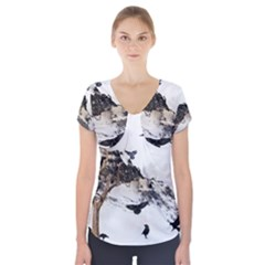 Birds Crows Black Ravens Wing Short Sleeve Front Detail Top